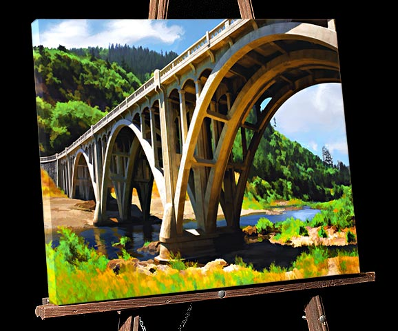 Painting of Oregon Arched Bridge built by engineer McCullough,over South Umpqua River at Myrtle Creek in Southern Oregon