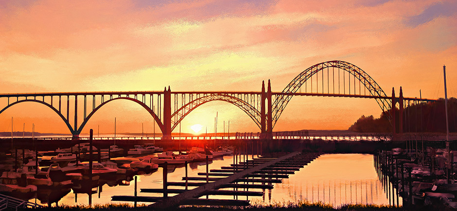 Canvas Painting of Yaquina Bay Bridge at Sunset; arched bridge in Newport OR