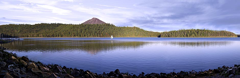 Mt Bachelor-Bend Oregon Panorama; great tree reflections;small sailboats show lake's big size; picture sold as framed photo or canvas