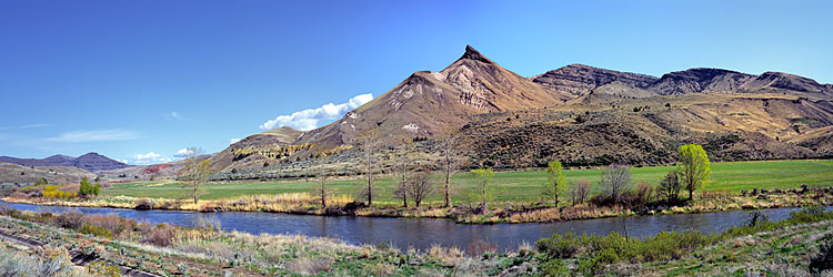 Sheep Rock and the John Day River Panorama; An Eastern Oregon picture sold as framed photo or canvas