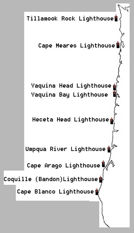 Lighthouses In Oregon Map.Oregon Lighthouse Location Map Site Of Photography