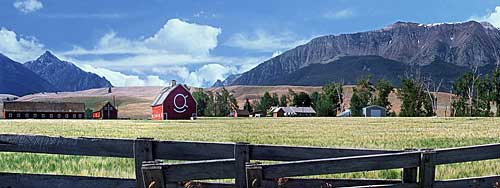 Wallowa Mountains farm panorama; Oregon's Alps picture; Joseph Oregon photograph of Prairie Creek Road sold as framed photo or canvas