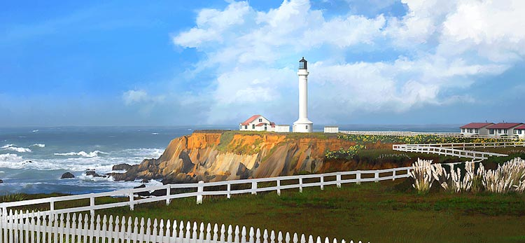 Panorama Painting of Point Arena Lighthouse on the California Coast