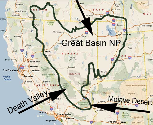 USA Great Basin MapGreat Basin National Park