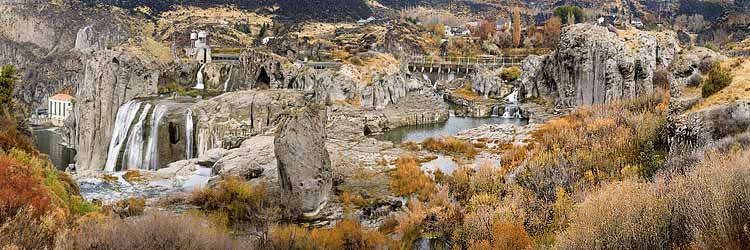 Fall Color from Shoshone Falls State Park in Twin Falls Idaho; Magic Valley in autumn sold as framed photo or canvas