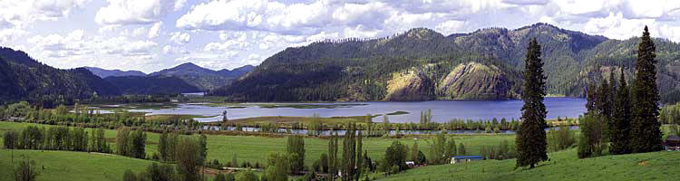 Swan Lake Idaho panorama; Coeur d'Alene River photograph sold as framed photo or canvas