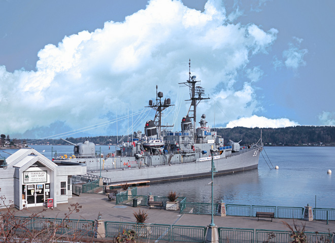 Scenic Washington, Puget Sound, Naval Ship at Bremerton Harbor