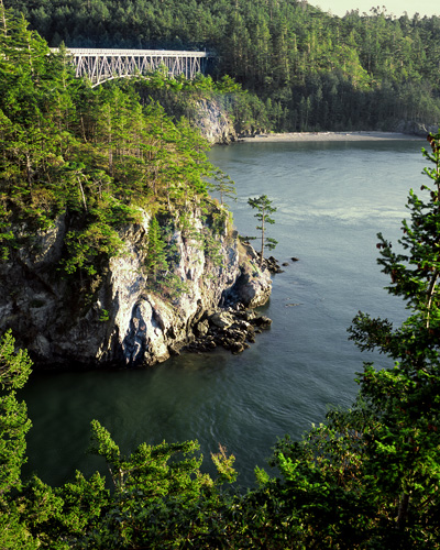 Deception Pass strait, standing on Whidbey Island looking at Fidalgo Island