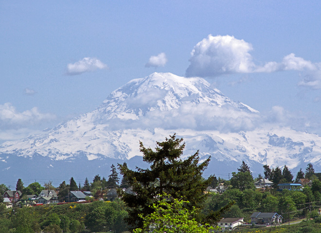 Mount Rainier from Kent Washington Sunny Day Photo for sale,Puget Sound photographs
