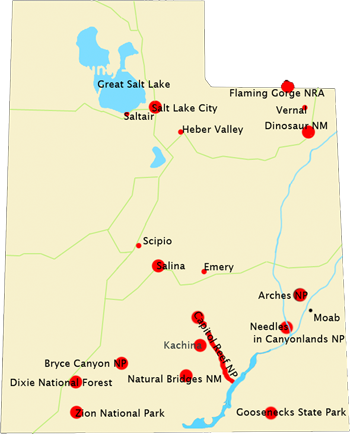 Map Of Utah With All Photos For Paintings Highlighted