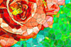 VERY colorful simulation of Stained Glass; tulips, roses, bouquets